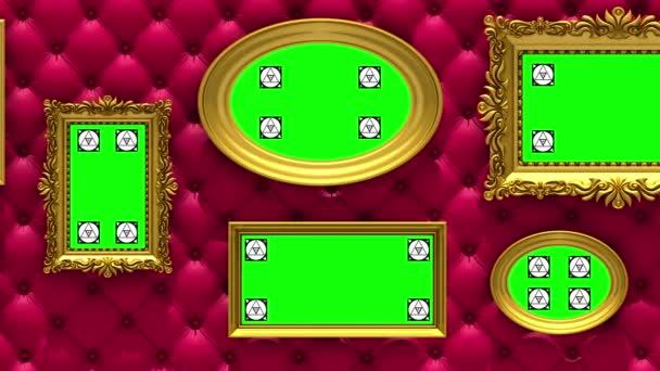 Bildergalerie 3D-Animation. Goldene Bilderrahmen auf luxuriösem roten Polsterhintergrund. Kamera bewegt sich entlang der Wand, nahtlose Schleife. Motion Tracking Marker und Green Screen enthalten.