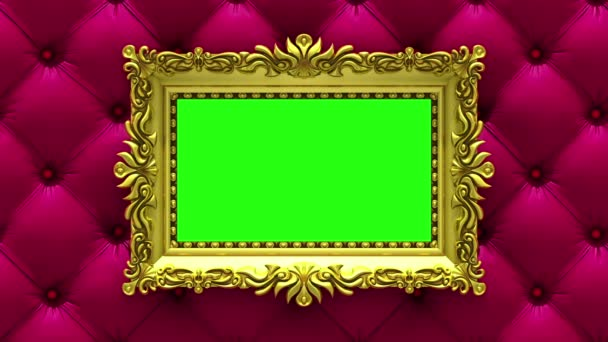 Countdown in gold picture frames on luxury red upholstery background. Mock-up for hit-parade, chart. 3D animation, green screen.