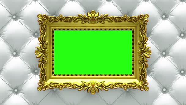 Countdown in gold picture frames on luxury white upholstery background. Mock-up for hit-parade, chart. 3D animation, green screen.