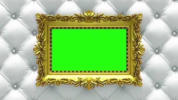 Countdown in gold Bilderrahmen auf Luxus weißen Polster Hintergrund. Mock-up für die Hitparade-Charts. 3D Animation, grüner Bildschirm.