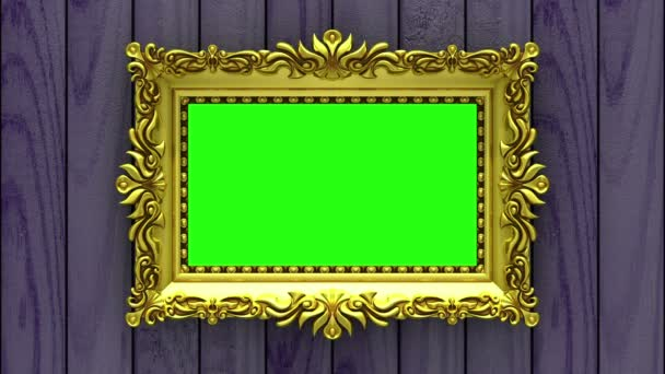 Countdown in gold picture frames on purple wood background. Mock-up for hit-parade, chart. 3D animation, green screen.