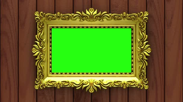 Countdown in gold picture frames on brown wood background. Mock-up for hit-parade, chart. 3D animation, green screen.