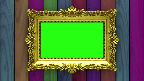 Countdown in gold picture frames on varicolored wood background. Mock-up for hit-parade, chart. 3D animation, green screen.