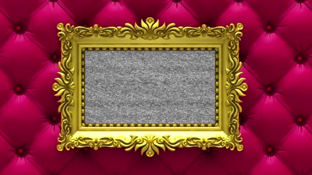 Camera Moves Along Gold Picture Frames On Luxury Red Upholstery
