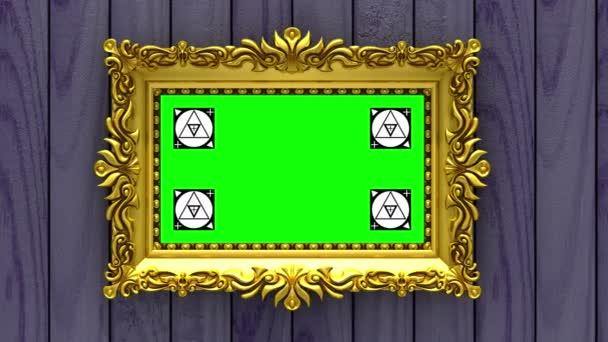Lila fa háttér kamera mozog arany képkeretek. Varratmentes a hurkos 3d animáció. Mozgás követése jelölők és a zöld képernyő tartalmazza.