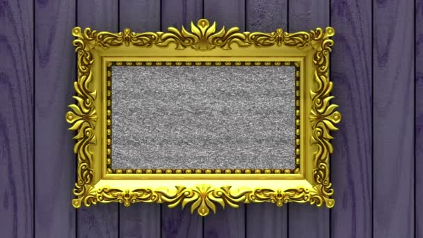 Camera Moves Along Gold Picture Frames On Purple Wood Background