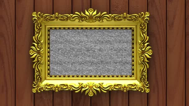 Camera moves along gold picture frames on brown wood background. Seamless looped 3d animation. Mockup with tv noise and green screen.