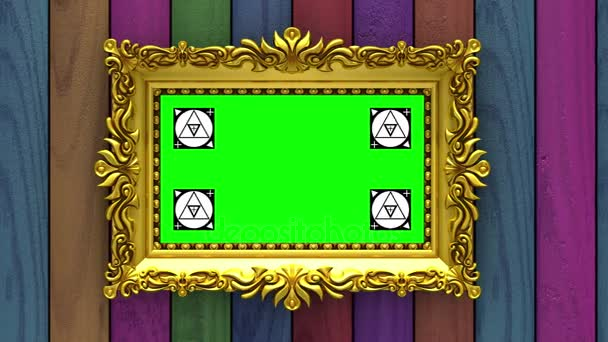 Camera moves along gold picture frames on varicolored wood background. Seamless looped 3d animation. Motion tracking markers and green screen included.