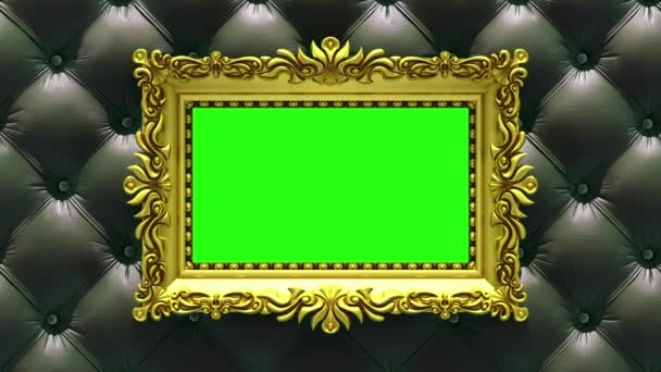 Countdown in gold picture frames on luxury black upholstery background. Mock-up for hit-parade, chart. 3D animation, green screen.