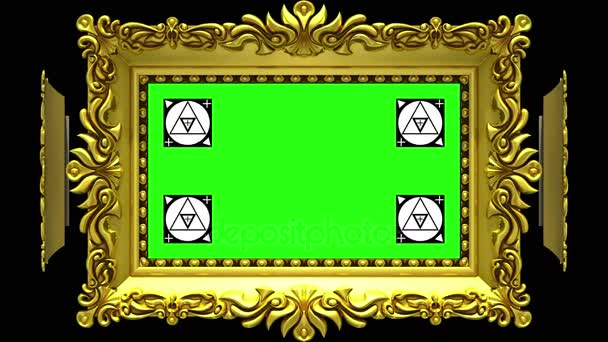 Ornate gold picture frames rotate in a circle on black background. Seamless loop, 3D animation with motion tracking markers and green screen. Alpha matte included.
