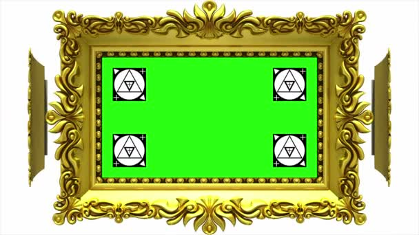 Ornate gold picture frames rotate in a circle on white background. Seamless loop, 3D animation with motion tracking markers and green screen. Alpha matte included.