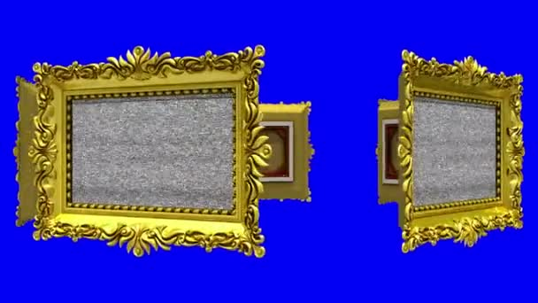 Ornate gold picture frames rotate in a circle on blue background, chroma key. Seamless loop, 3D animation with tv noise and green screen.