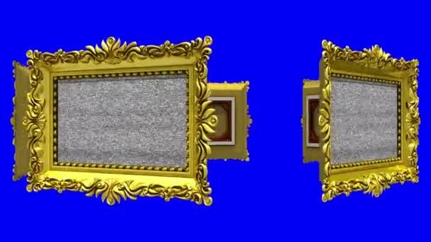 Rámečky ozdobné zlaté obrázků, které se otáčení v kruhu na modrém pozadí, klíčování chroma. Bezešvá smyčka, 3d animaci s tv hluk a zelená obrazovka.