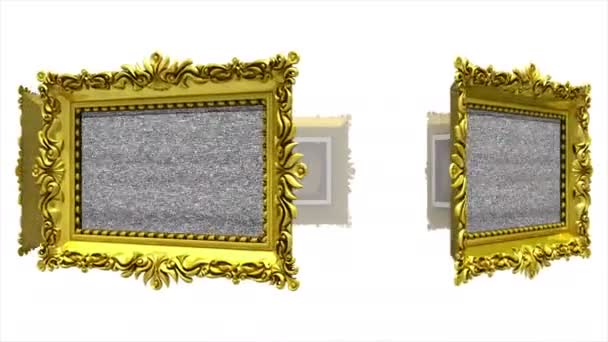 Ornate gold picture frames rotate in a circle on white background. Seamless loop, 3D animation with tv noise and green screen.
