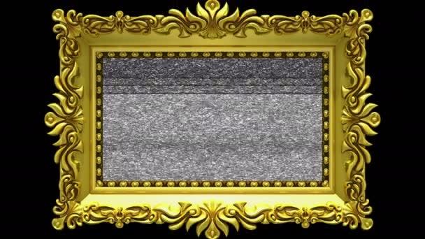 Arany képkeret fekete háttér, varrat nélküli hurok körül forog. 3D animáció-tv zaj és a zöld képernyő.