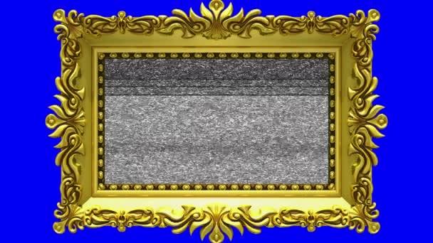 Arany képkeret a kék háttér, chroma key, varrat nélküli hurok körül forog. 3D animáció-tv zaj és a zöld képernyő.
