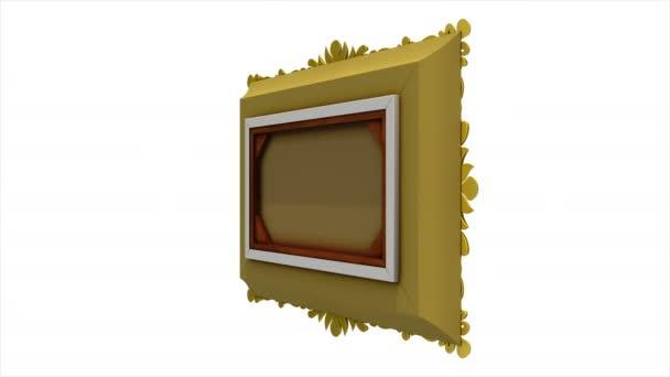 Luxus arany képkeret forog a fehér háttér előtt. Intro a tv zaj és a zöld képernyő, a 3D-s animáció.