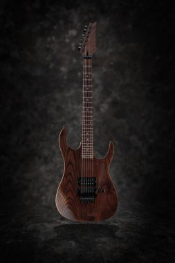 Custom electric guitar with natural finish
