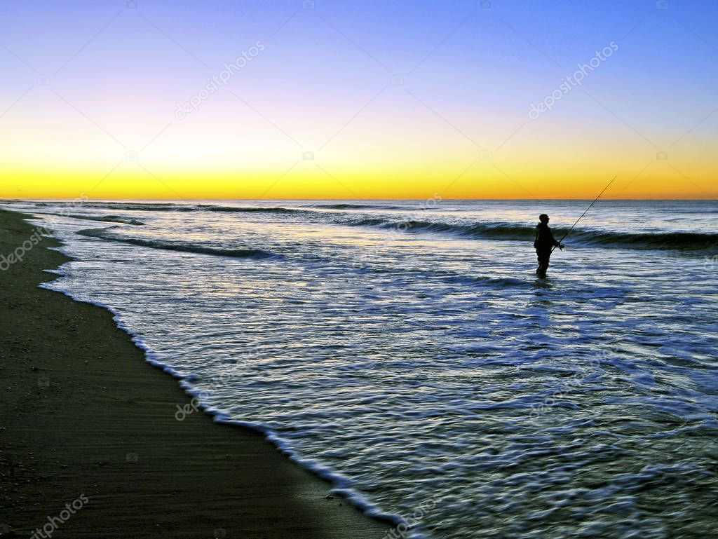 A Fisherman At Sunrise