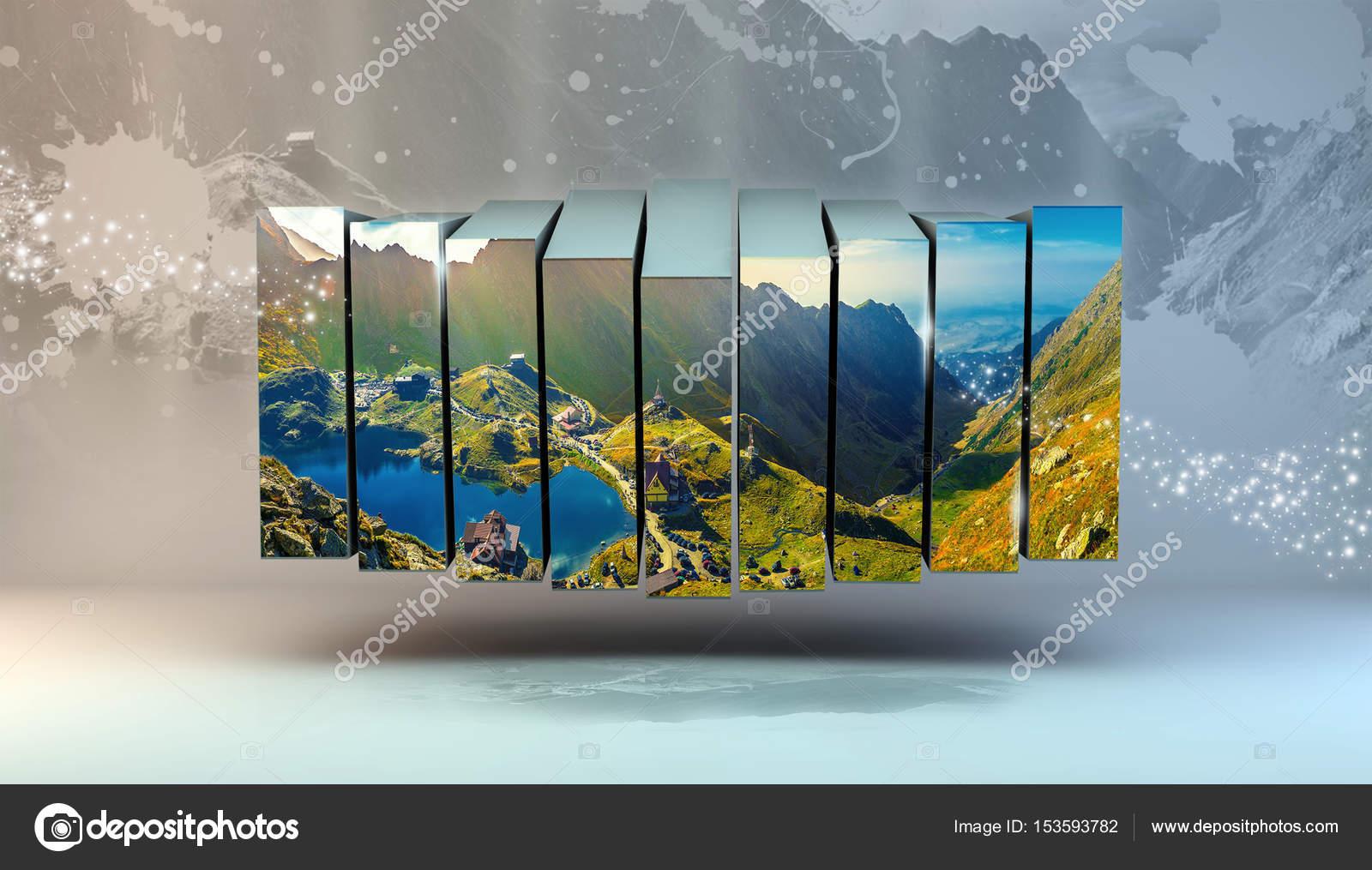 Spiegelbild auf See, Multi-Foto-Box-Rahmen — Stockfoto ...
