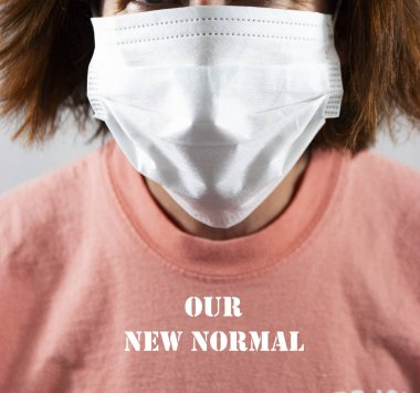 Face mask covering face on a women whos shirt reads our new normal because of the coronavirus COVID-19. stock vector