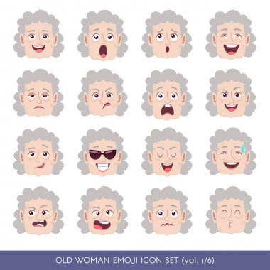 Old woman emoji icon set