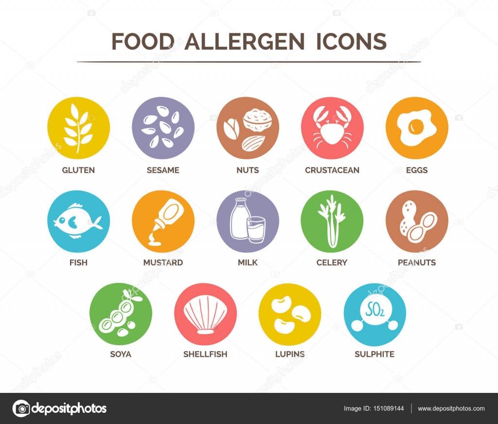 Food Allergen Icons Set — Stock Vector © insemar #151089144