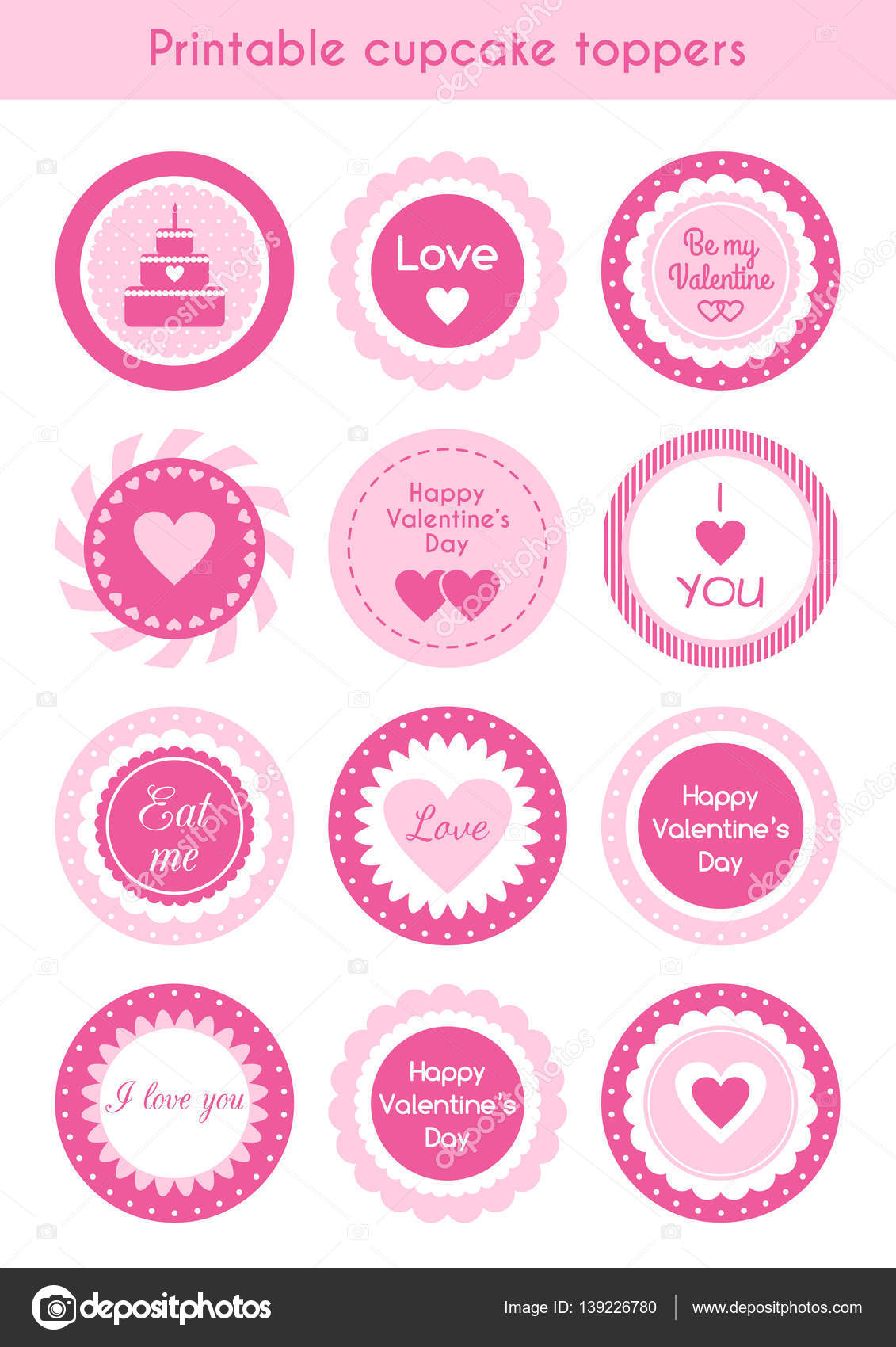 picture about Cupcake Printable called Fastened of printable cupcake toppers Valentines working day Inventory