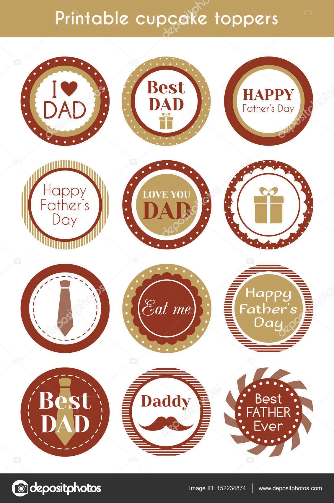 Toppers de cupcake hipster imprimibles para el día de padres ...