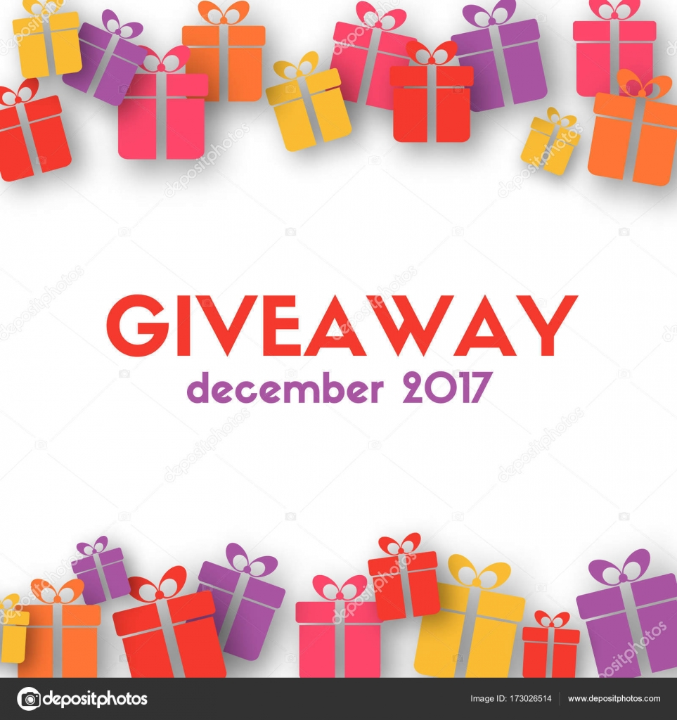 giveaway banner template with gift boxes stock vector artulina1