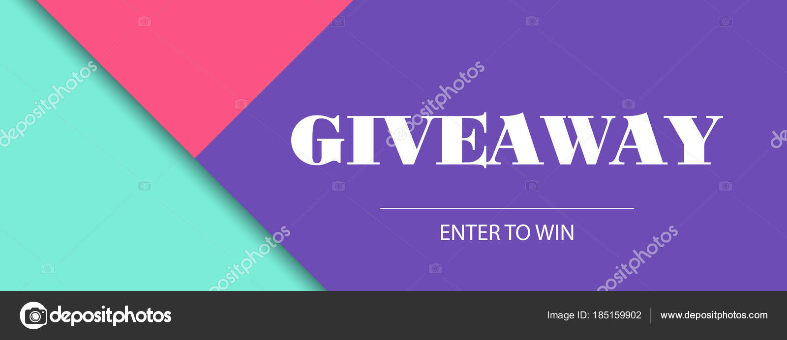 Giveaway Banner Vector Design Template Facebook Cover Size Stock
