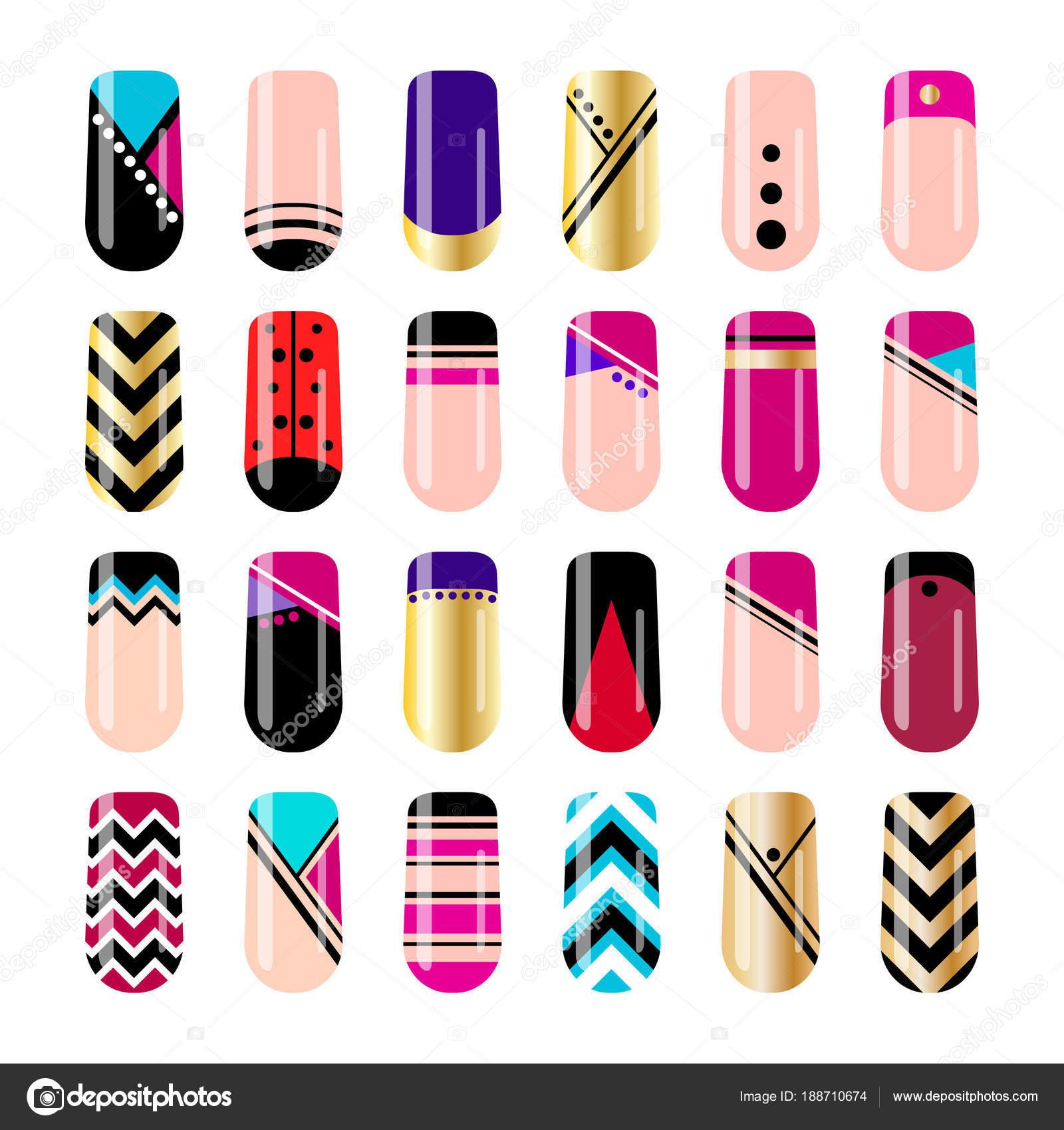 Nail Art Ontwerpen Geometrische Nail Stickers Sjabloon