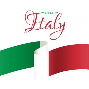 Welcome to Italy. Vector welcome card with flag of Italy