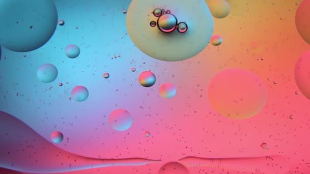 Pohyb mnohobarevné olejové bubliny v kapalině ve zpomaleném filmu. Krásná struktura oleje a vody v makro jako přírodní pozadí záběry.