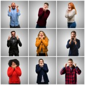 Gruppe von gemischten Menschen, Frauen und Männer glücklich und überrascht mit dem Ausdruck ihrer Wow Geste jubeln