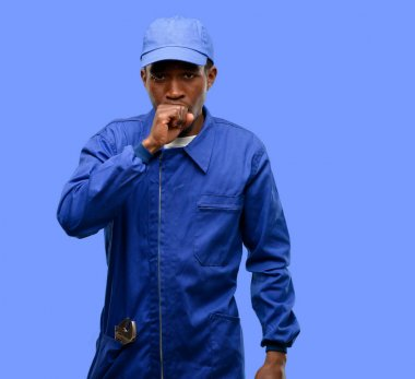 African black plumber man sick and coughing, suffering asthma or bronchitis, medicine concept
