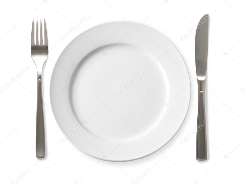 Plato vac o con cuchillo y tenedor sobre un fondo blanco for Plato tenedor y cuchillo
