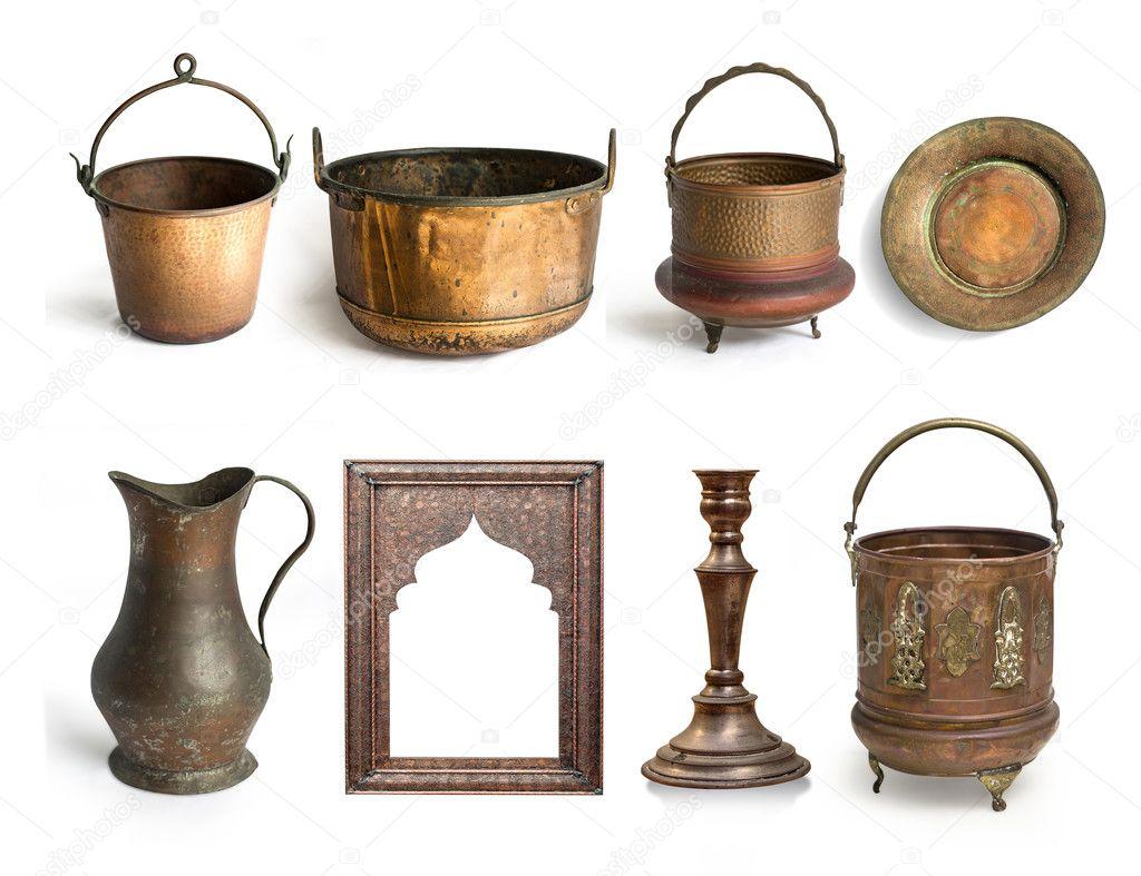 utensilios de cobre antiguos — Foto de stock © kornienkoalex #128349904