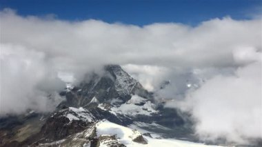Aerial Timelapse of Matterhorn Mountain in Clouds