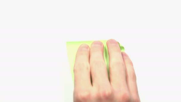 Mužské ruky vložit prázdné prázdné zelené Self Stick Poznámka
