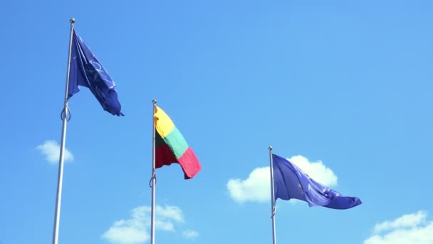 Lithuania National Flag with European Union Flags