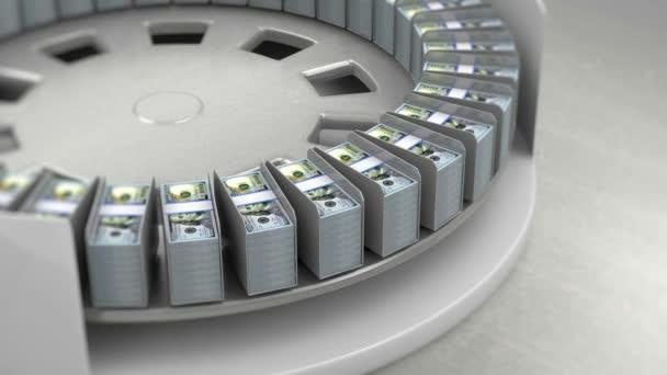 Nové 100 dolarové bankovky na dopravník