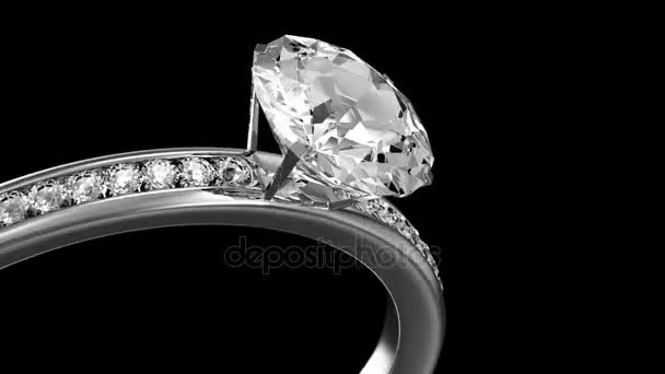 Animation of Silver Ring Rotation with Diamonds