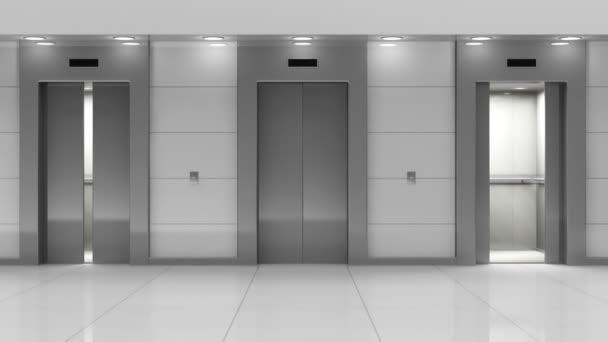 Moderní výtahy v hale.