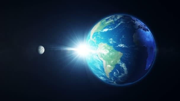 Planeta Země se měsíc ve vesmíru