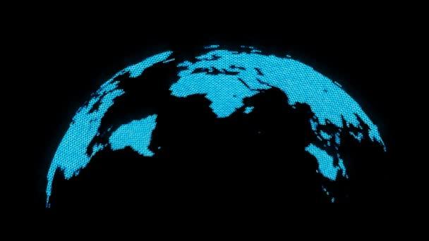Abstraktní animace zářící mapa světa.