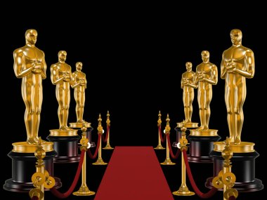 Rows of statues Oscar and carpet