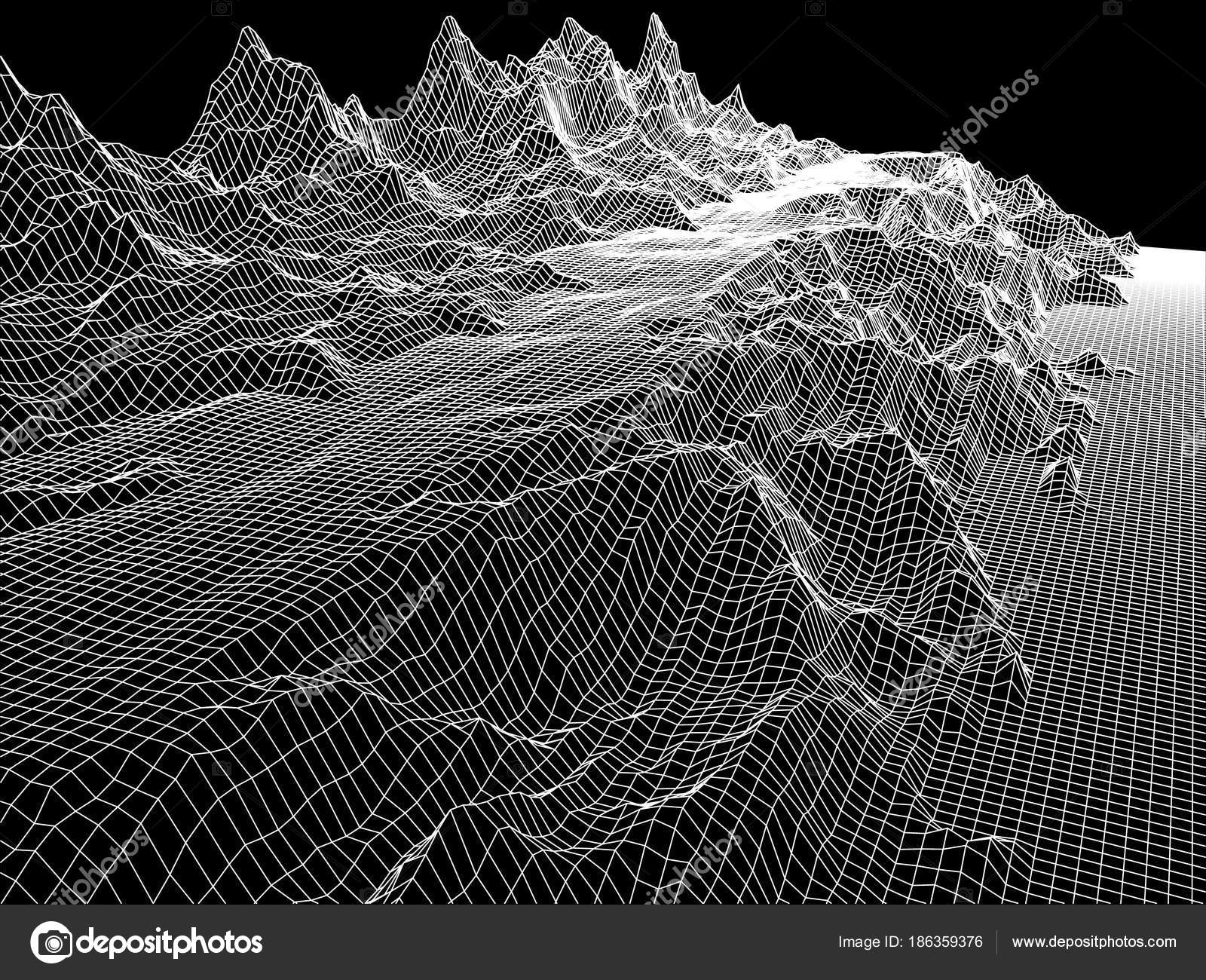 wireframe mountains abstract wireframe landscape mountains wireframe 3d 2225