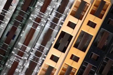 Closeup of audio cassettes background