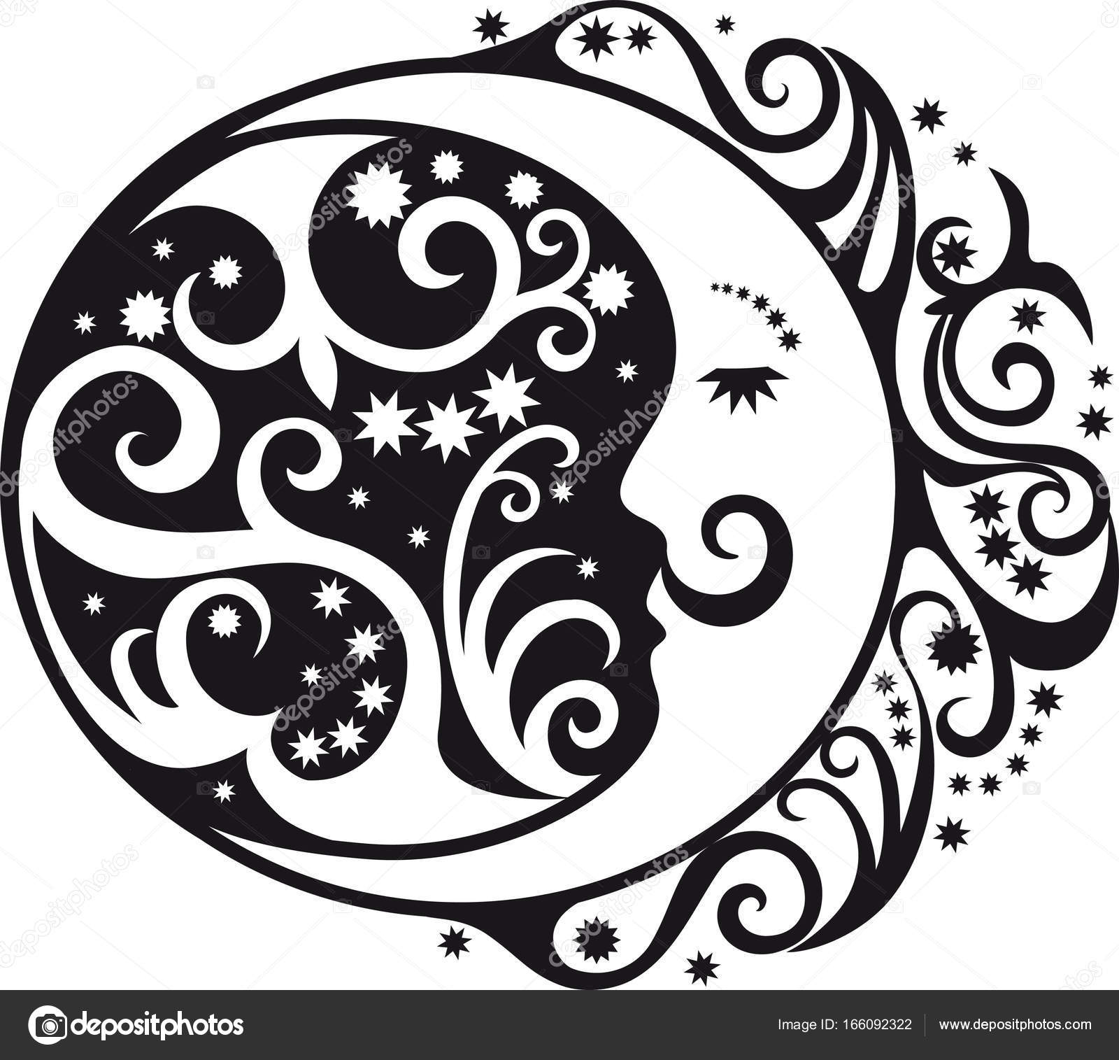 Abstract Pattern Crescent Moon And Sun Symbol Stock Vector